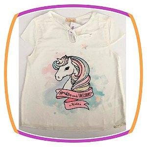 Blusa infantil em crepe com estampa de unicórnio