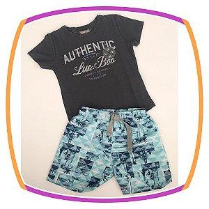 Conjunto infantil Camiseta  marinho e bermuda em nylon estampada