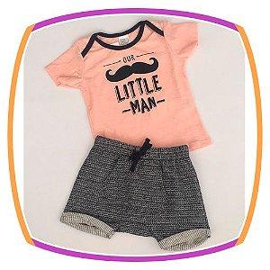 Conjunto infantil Camiseta Little Man e bermuda moleton com bolso