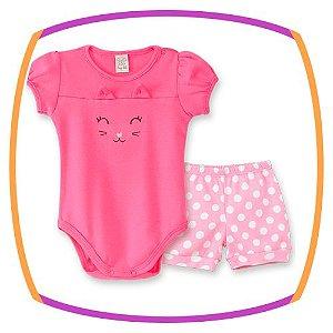 Body Manga Curta gatinho e manga balonê + shorts poá rosa