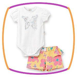 Body Manga Curta Balone com aplique de borboleta e lantejoula e shorts com babado lateral amarelo floral