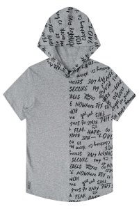 Camiseta infantil em malha com gorro