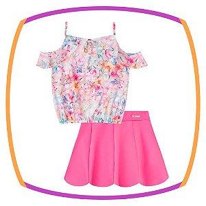 Conjunto infantil Blusa regata em crepe estampa flores e saia em neoprene pink