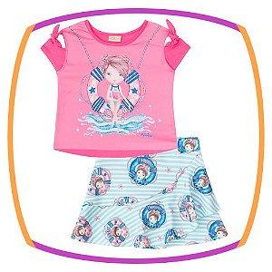Conjunto infantil blusa Boxy em viscolycra e cetim estampa marinheiro e short saia em neoprene