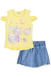 Conjunto infantil Blusa em Cotton Estampa astronauta amarelo e shorts saia em molecotton jeans