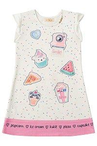 Vestido infantil em ponto roma estampa doces