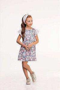 Vestido infantil em neoprene todo estampado e faixa de cabelo