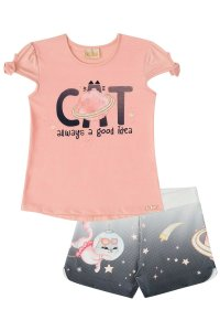 Conjunto infantil Blusa em viscolycra CAT espaço e shorts em ponto roma estampado
