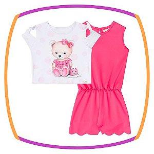 Macaquinho infantil  em neoprene liso pink e boxy em meia malha estampa urso com poá