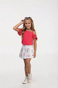 Conjunto infantil Regata Lisa Vermelha em bubble satim e Shorts Saia em malha crepe estampado