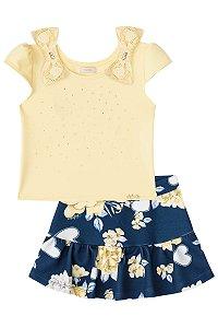 Conjunto infantil Blusa Cropped Brilho e renda amarelo e  shorts/saia azul neoprene