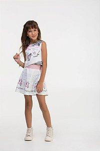 Conjunto infantil Blusa Cropped Regata Xadrez preto estampa fashion com brilho e Saia neoprene (shorts embutido)