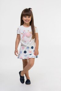 Conjunto infantil Blusa em cotton estampa flamingo e shorts saia em malha crepe