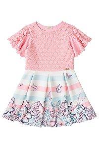 Vestido infantil em neoprene e renda rosa  estampa borboleta