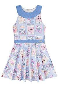 Vestido infantil em Malha Crepe Azul estampado