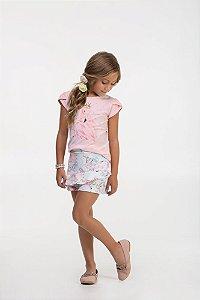 Conjunto infantil Blusa em Cotton estampa Cisne e shorts saia em neoprene estampado