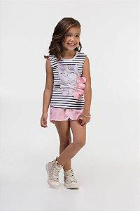 Conjunto infantil  Blusa Regata em malha power com elastano listrada Estampa Gatinho e Shorts/saia em sarja com elastano Rosa