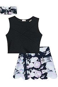 Conjunto infantil Blusa Cropped Preta e Short/saia em neoprene estampa batom com faixa  de cabelo