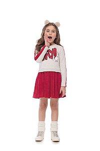 Vestido infantil em moleton e plush estampa OKAY