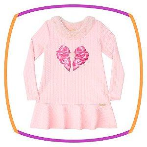 Vestido infantil jacquard texturizado Coração