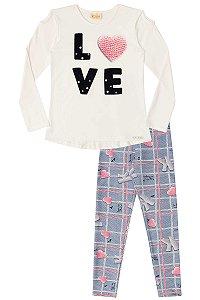 Conjunto infantil blusa  LOVE e legging