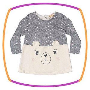 Vestido para bebê em plush e suedine rostinho urso