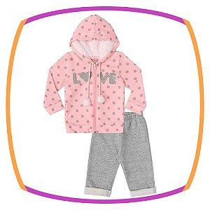 Conjunto para bebê casaco em moleton e pelo LOVE e calça cinza em moleton