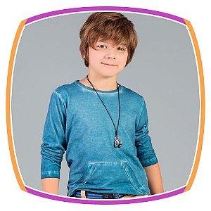 Camiseta infantil com bolso azul estonada