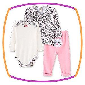 Body para bebê manga longa, casaco estampado e calça  estampa gatinho rosa