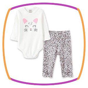 Body para bebê manga longa bordado gatinho e calça  estampada