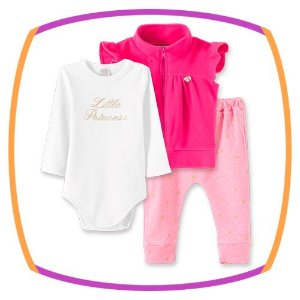 Body para bebê Little Princess manga longa, calça e colete em soft