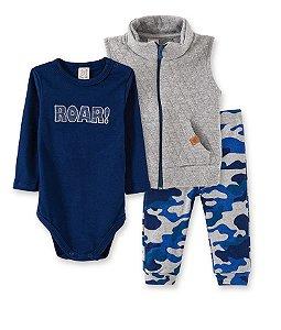 Body para bebê  ML  ROAR, calça camuflada e colete Matelasse