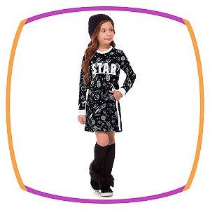 Vestido infantil preto BEAR em molecotton