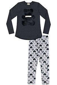 Conjunto infantil blusa aplique URSO e legging  preta