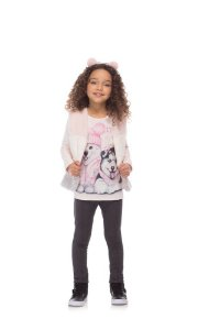 Conjunto infantil Colete em pelo, blusa em cotton cachorro e calça legging