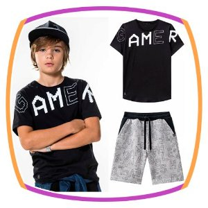 Conjunto infantil Camiseta GAME preta e Bermuda em Moleton na cor cinza
