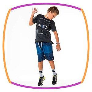 Conjunto infantil, Camiseta PLAYER preta e Bermuda em Nylon na cor Azul