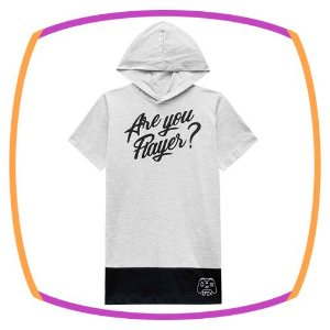 Camiseta infantil ARE YOU A PLAYER com gorro