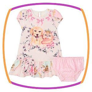 Vestido para bebê em Malha Crepe estampa cachorro e gato e calcinha em tricoline