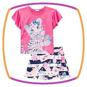 Conjunto infantil de Blusa Boxy em Viscolycra Estampa gatinho na cor pink e shorts saia em fly tech estampado