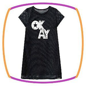 Vestido infantil em tela preto OKAY