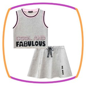 Conjunto infantil blusa cropped regata em moleton COOL and FABULOUS e saia