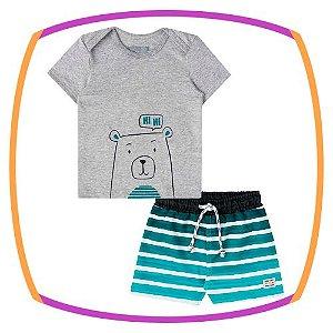 Conjunto bebê camiseta meia malha urso e bermuda de nylon