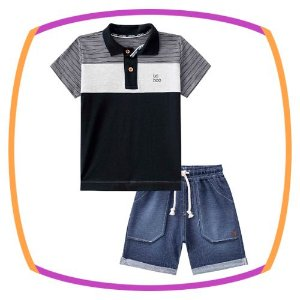 Conjunto infantil camisa polo meia malha listrada e bermuda malha denin jeans