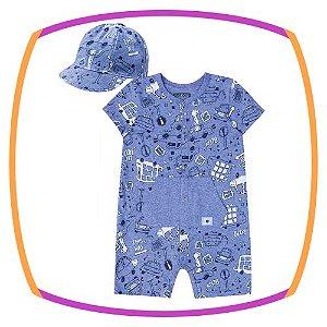 Macacão para bebê em malha melange estampa azul e boné
