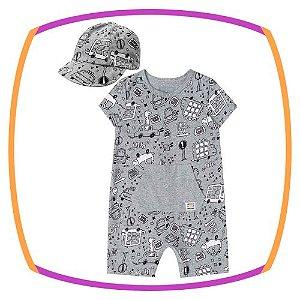 Macacão para bebê em malha melange estampa cinza e boné