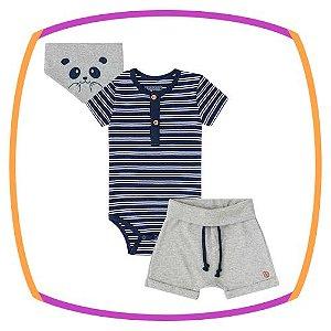 Conjunto para bebê body suedine listrado marinho e bermuda em suedine cinza e lenço