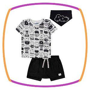 Conjunto para bebê camiseta em suedine estampada, bermuda em moleton preta e lenço meia malha