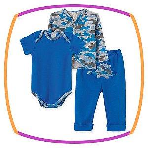 Body para bebê em suedine manga curta, Casaco camuflado e Calça azul
