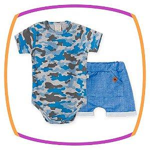 Body para bebê em suedine manga curta, estampa camuflada e  shorts em malha